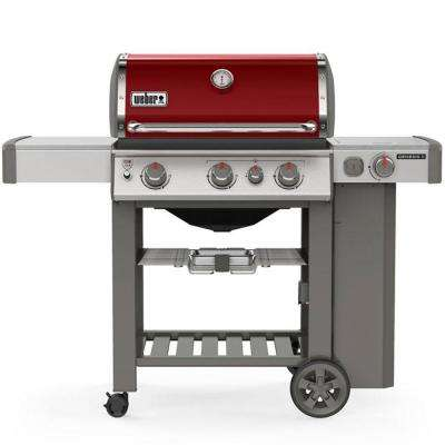 Genesis II E-330 3-Burner Propane Gas Grill in Crimson with Built-In Thermometer and Side Burner
