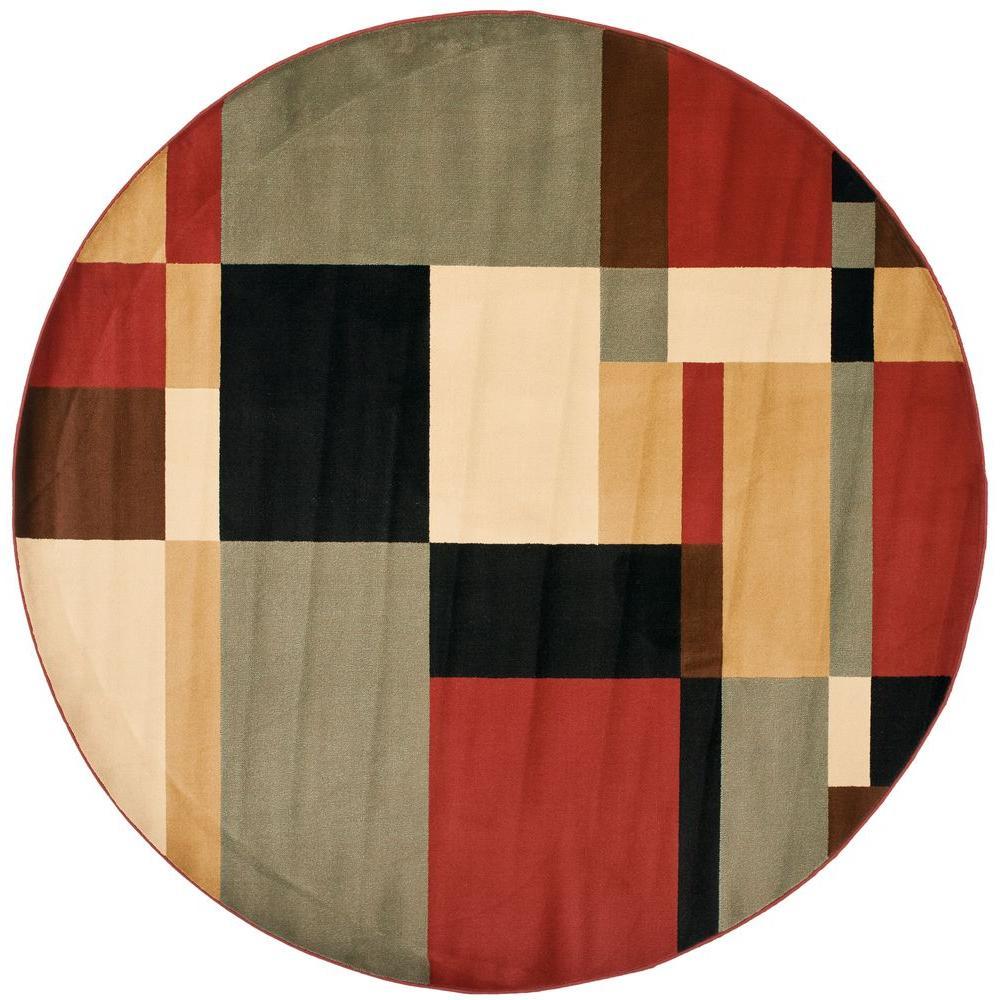 Safavieh Porcello Black/Multi 7 ft. x 7 ft. Round Area Rug