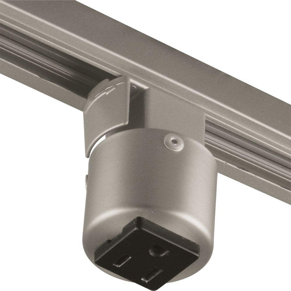 Alpha Trak Brushed Nickel Track Lighting Outlet Adapter Accessory