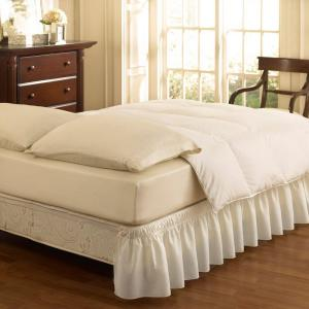 Ruffled Wrap Around White Full Bedskirt by