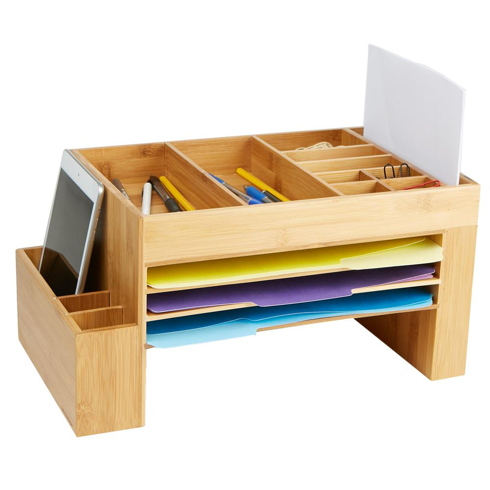 Mind Reader Bamboo Desk File Organizer Storage Saver With 16 Compartment Storage Brown