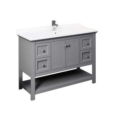 Manchester 48 in. W Bathroom Vanity in Gray with Ceramic Vanity Top in White with White Basin
