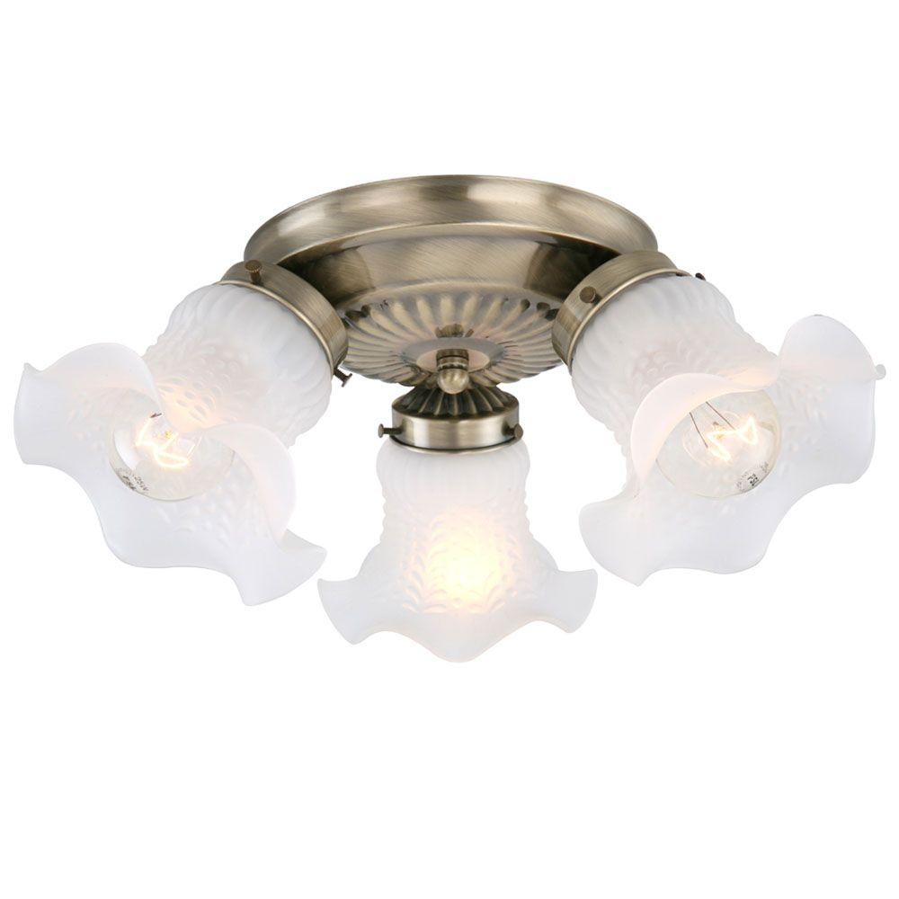 Hampton Bay Ceiling Light Fixtures: Hampton Bay 3-Light Antique Brass Flushmount-J0611AB