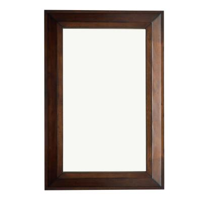 Portland 28 in. W x 42 in. H Framed Wall Mirror in Burnished Mahogany