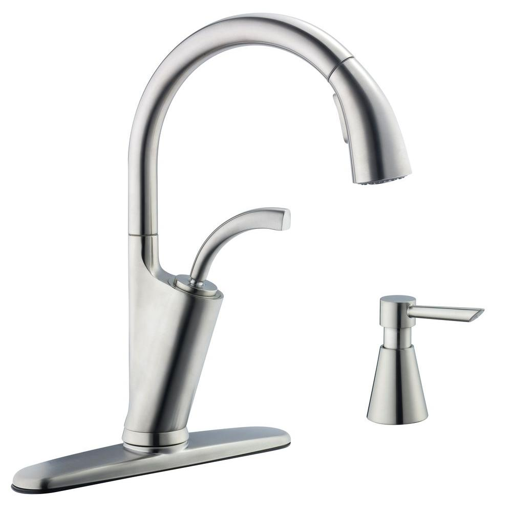 Glacier Bay Heston Single-Handle Pull-Down Sprayer Kitchen Faucet in Stainless Steel