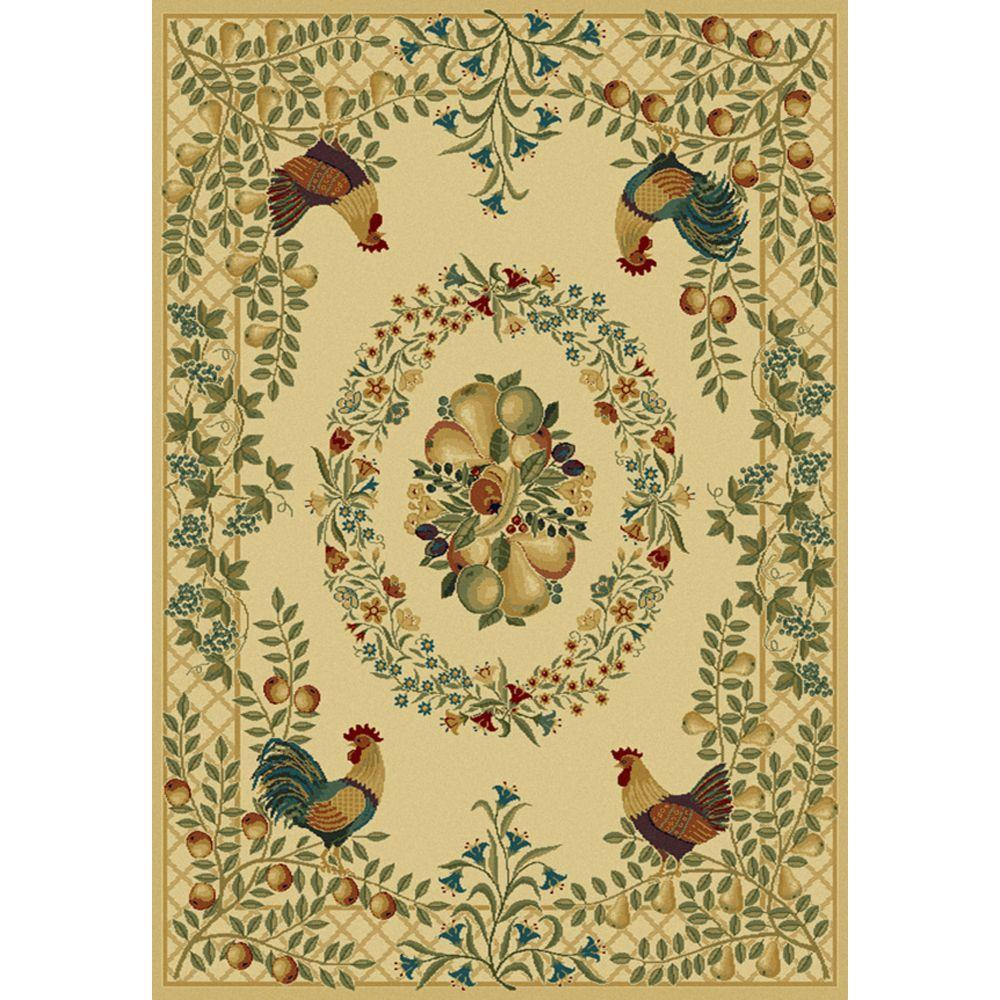 United Weavers Overstock Provence Cream 5 ft. 3 in. x 7 ft. 6 in. Area Rug