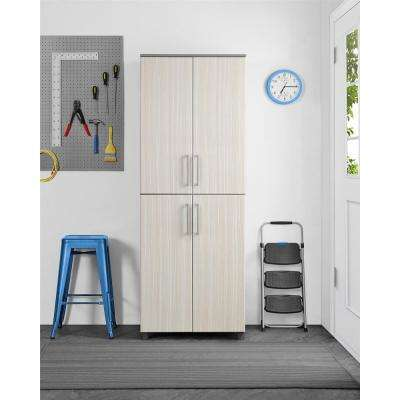 Latitude 75.35 in. H x 27.7 in. W x 19.8 in. D Particle Board Freestanding Cabinet in Gray/Natural
