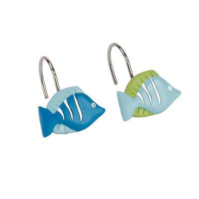 Atlantis Freestanding Shower Curtain Hooks in Aqua (12-Pack)