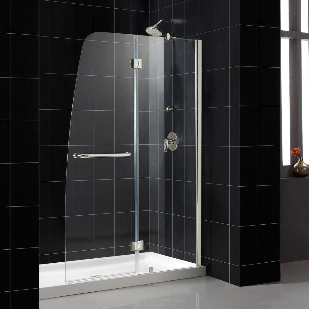 DreamLine Aqua 48 in. x 72 in. Frameless Hinge Shower Door in Brushed Nickel-DISCONTINUED