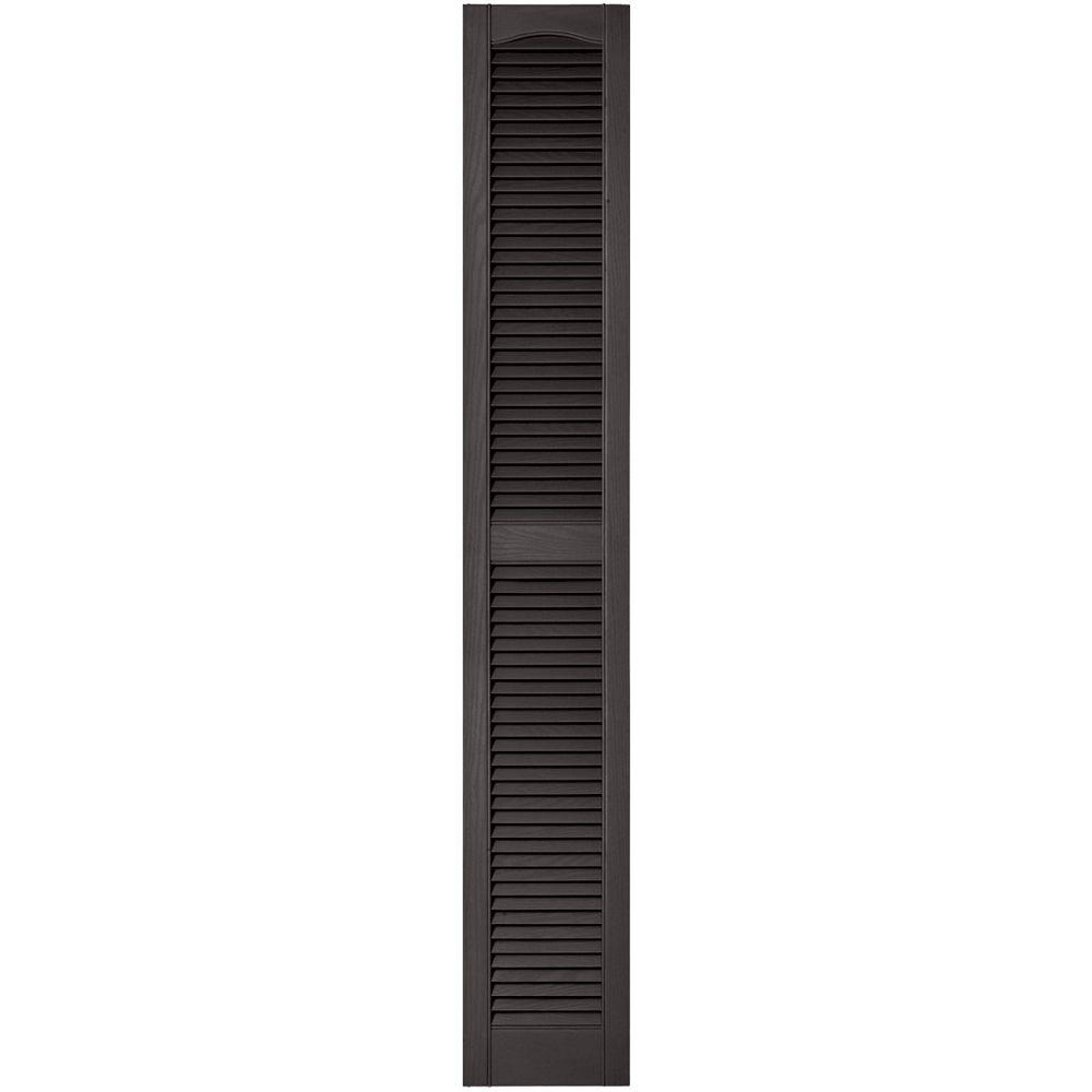 12 in. x 75 in. Louvered Vinyl Exterior Shutters Pair in