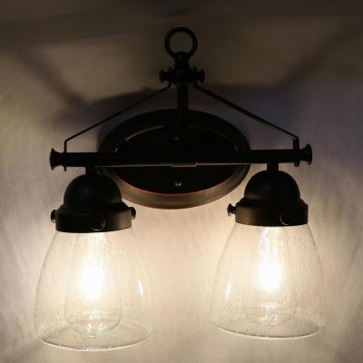 2-Light Brown Vanity Light with Clear Seedy Glass Shade
