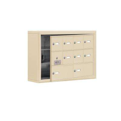 19100 Series 30.5 in. W x 20 in. H x 6.25 in. D 9 Doors Cell Phone Locker S-Mount Keyed Locks in Sandstone