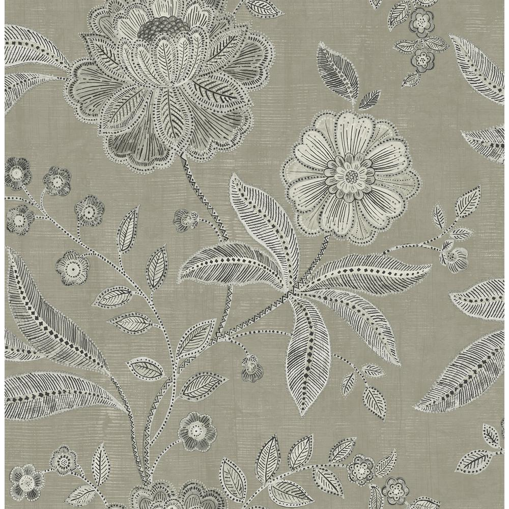 Seabrook Designs Shimmer Grey And Metallic Charcoal Floral