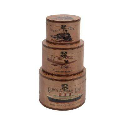 Round Wooden Leather Vintage Boxes with Lids (Set of 3)