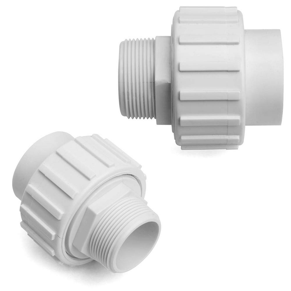 XtremepowerUS 1-1/2 in. PVC MPT x Slip Socket Flush Union Fitting for Pool Pump (2-Pack)