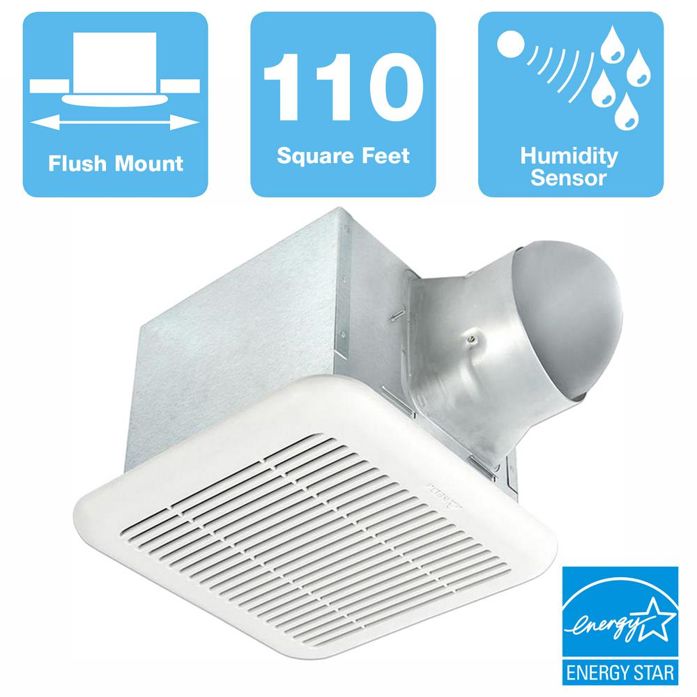 Delta Breez Signature 80/110 CFM Adjustable Speed Ceiling Bathroom Exhaust Fan with Humidity Sensor, ENERGY STAR