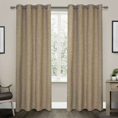 Vesta 52 in. W x 96 in. L Woven Blackout Grommet Top Curtain Panel in Natural (2 Panels)