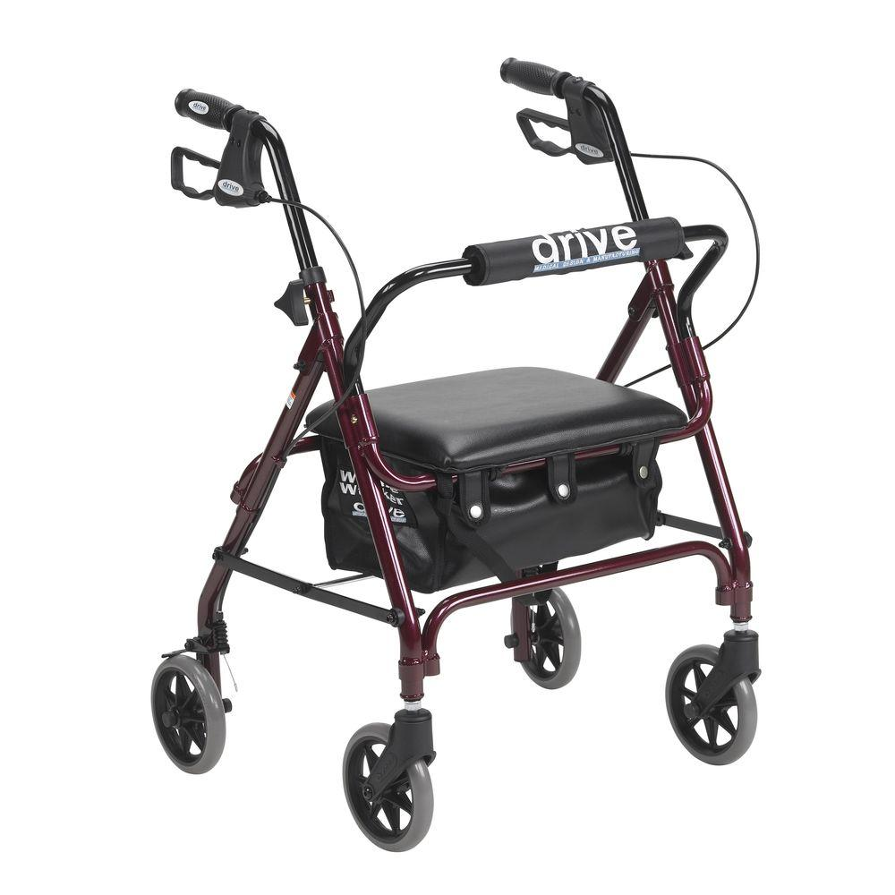 Junior Rollator with Padded Seat in Red