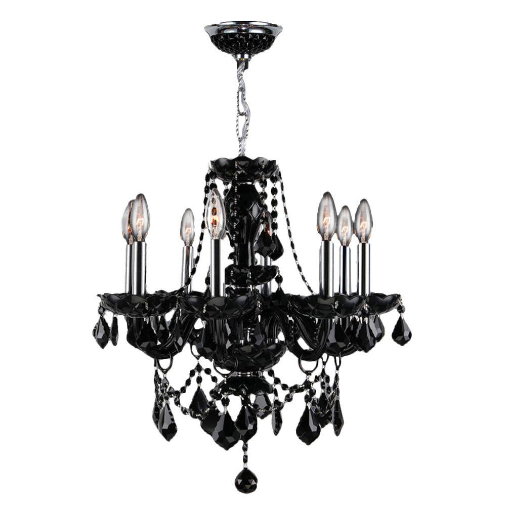 Worldwide Lighting Provence 8-Light Polished Chrome and Black Crystal Chandelier