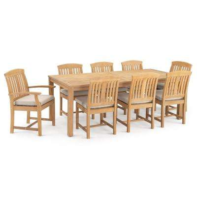 Kooper 9-Piece Wood Outdoor Dining Set with Slate Grey Cushions