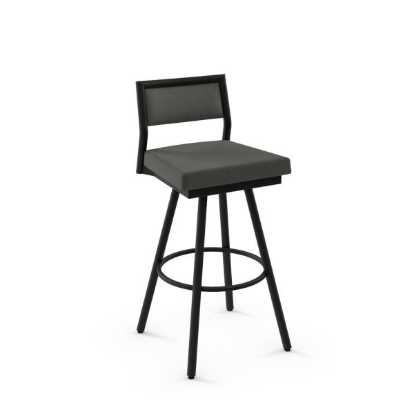 Jacob 26 in. Charcoal Grey Polyester / Black Metal Swivel Counter Stool
