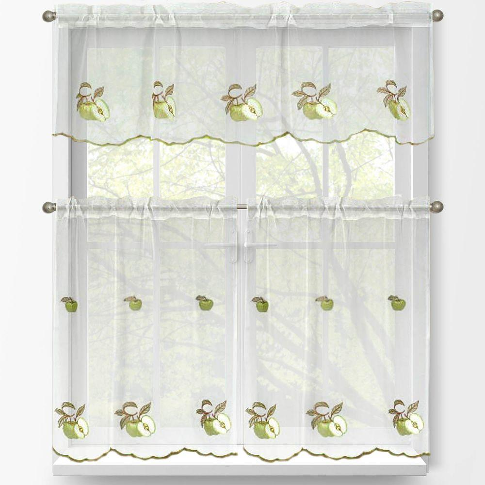 Window Elements Sheer Green Apple Embroidered 3-Piece