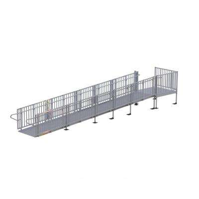 Titan 26 ft. Aluminum Commercial Modular Ramp with Platform and Handrails
