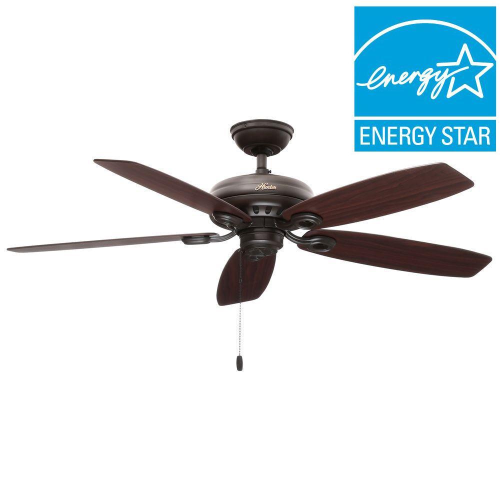 Hunter Markham 52 inch Indoor New Bronze Ceiling Fan by Hunter