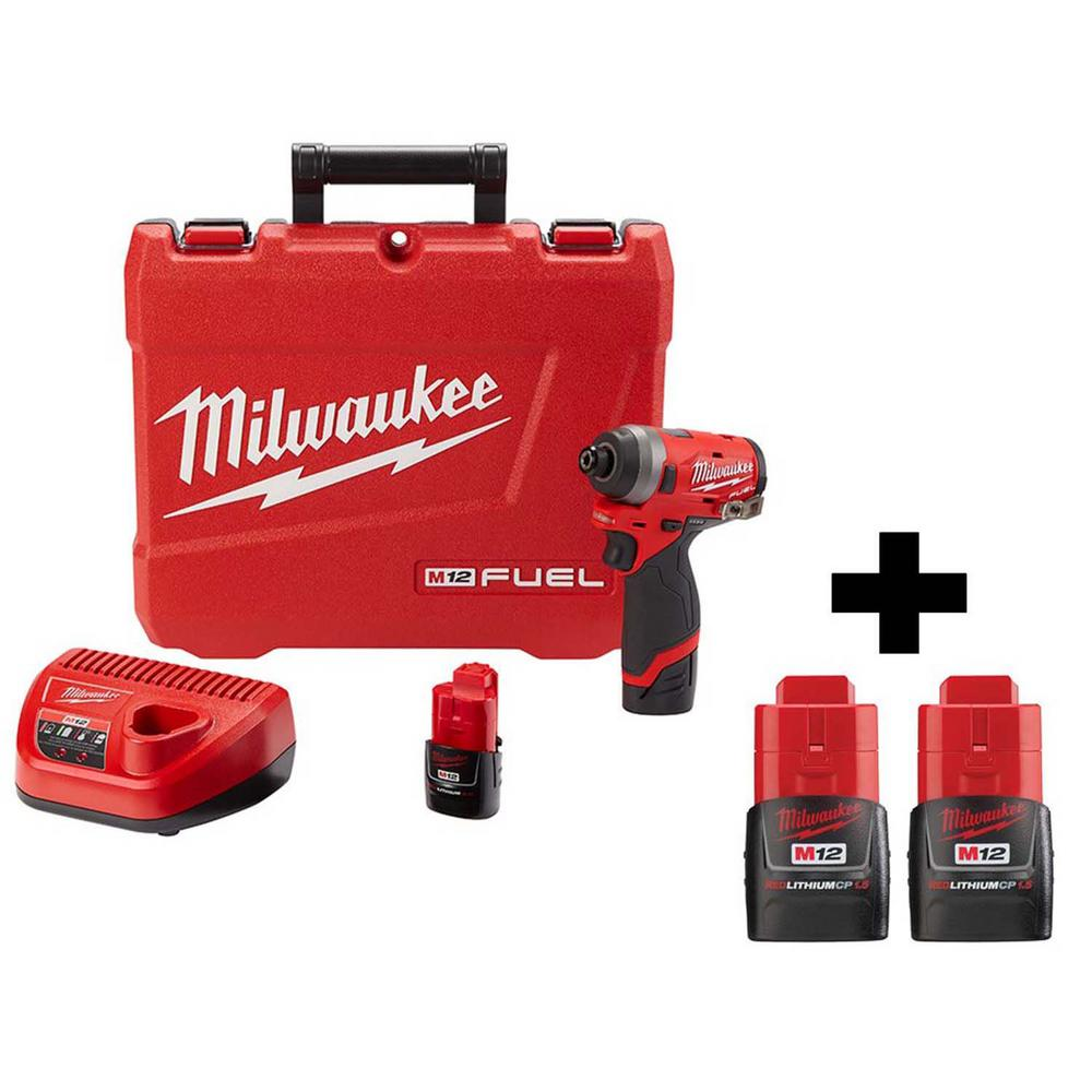 Milwaukee M12 FUEL 12-Volt Lithium-Ion Brushless Cordless 1/4 in. Hex Impact Driver Kit With Two Free M12 1.5Ah Batteries