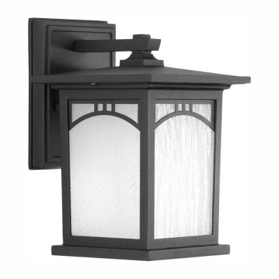 Residence Collection 1-Light 9.2 in. Outdoor Textured Black LED Wall Lantern Sconce