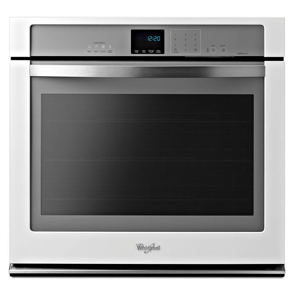 Whirlpool Gold 30 in. Single Electric Wall Oven Self-Cleaning with Convection in White Ice