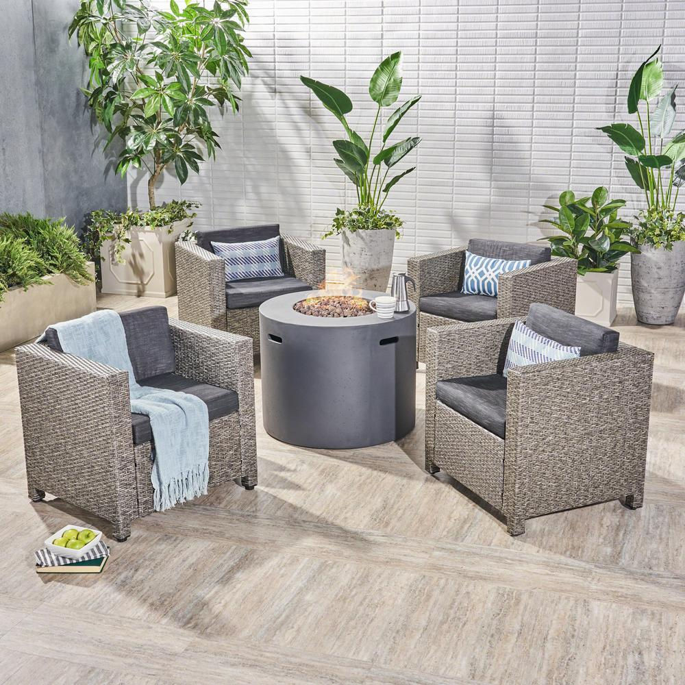 Noble House Nolan Mixed Black 5-Piece Wicker Patio Fire Pit Conversation Set with Dark Gray Cushions