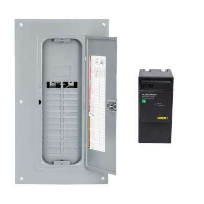 Homeline 225 Amp 40-Space 80-Circuit Indoor Main Lug Qwik-Grip Plug-On Neutral Load Center with Ground Bar, Surge SPD