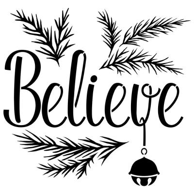 """""""Believe"""" with a Jingle Bell Sign Stencil"""