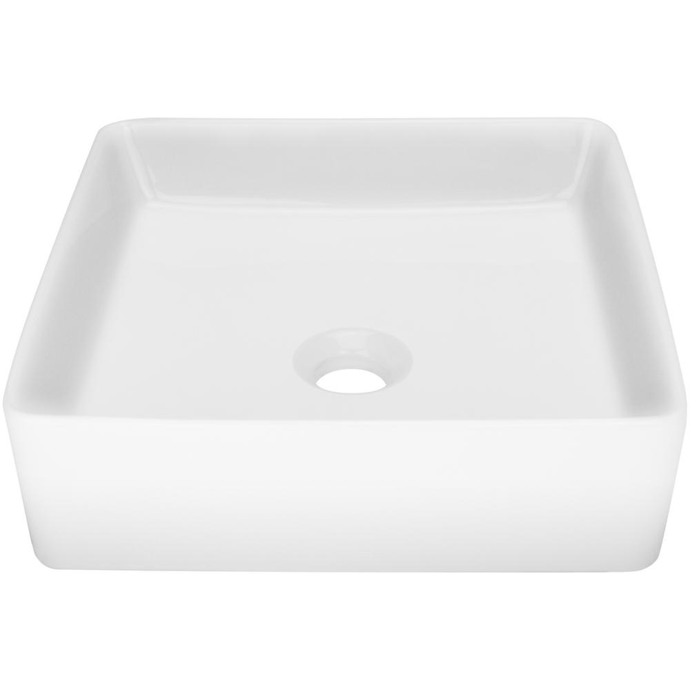 Nautilus 14.25 in. Square Vessel Sink in White