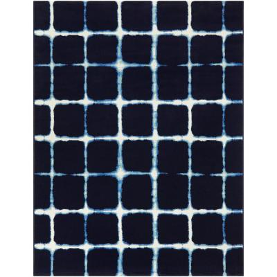 Tie-Dye Navy 5 ft. x 7 ft. Checkered Indoor/Outdoor Area Rug