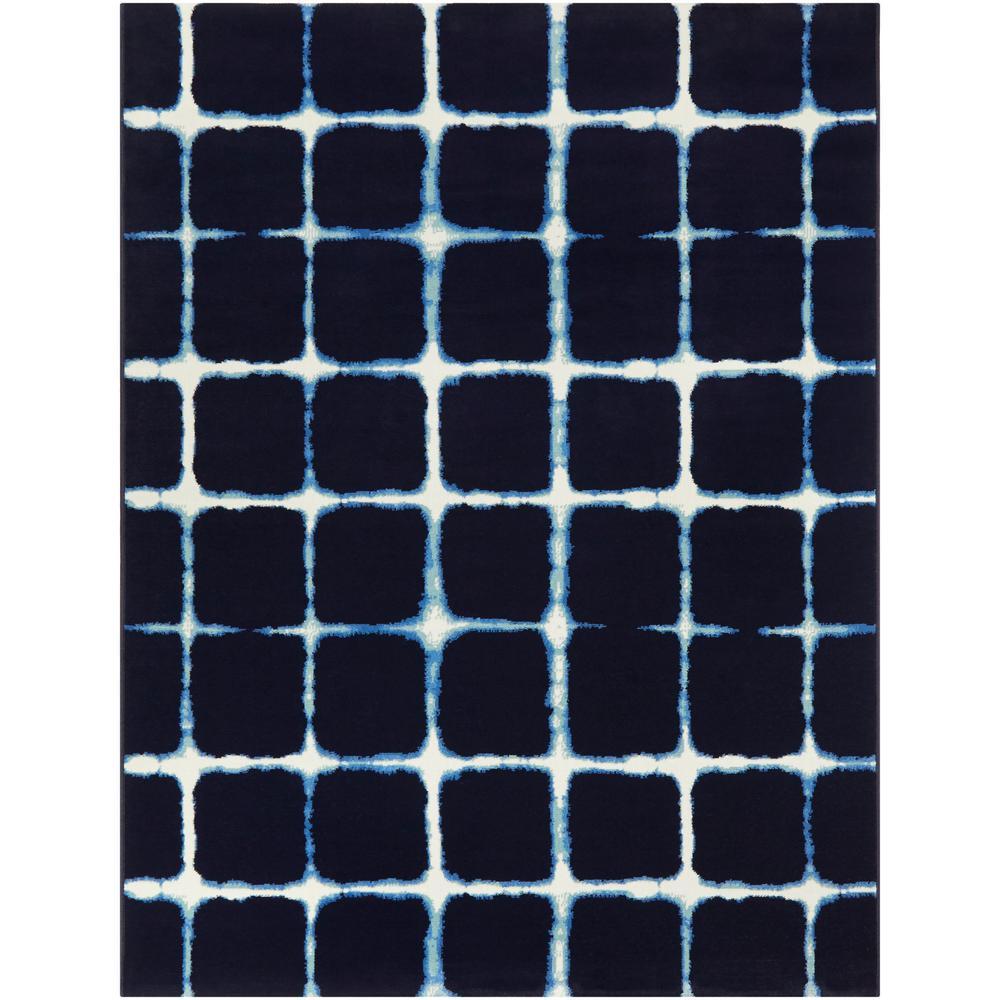 Tie-Dye Navy 8 ft. x 10 ft. Checkered Indoor/Outdoor Area Rug