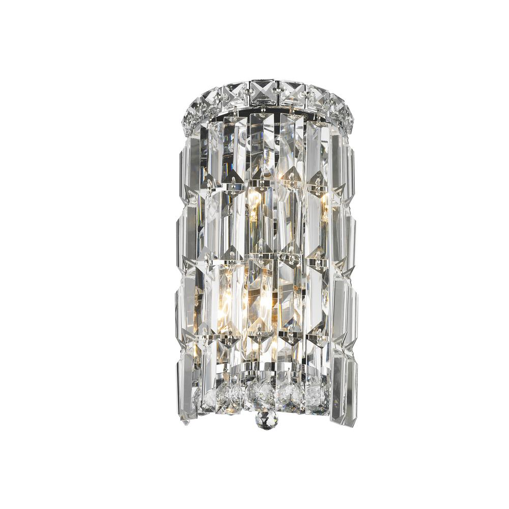 Cascade Collection 2 Light Chrome And Clear Crystal Sconce