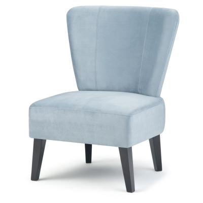 Fenwick 25 in. Wide Contemporary Velvet Accent Slipper Chair in Light Blue Velvet