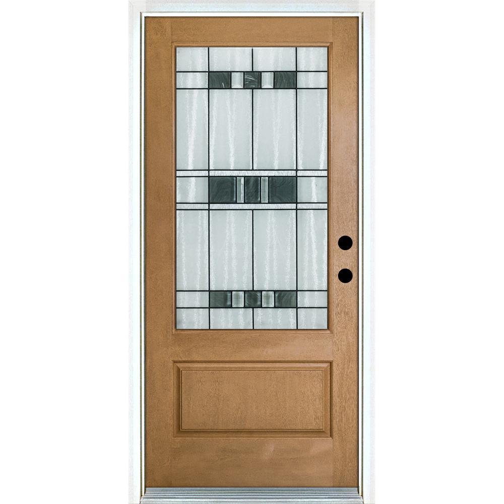 MP Doors 36 in. x 80 in. Savana Light Oak Left-Hand Inswing 3/4 Lite Decorative Fiberglass Prehung Front Door