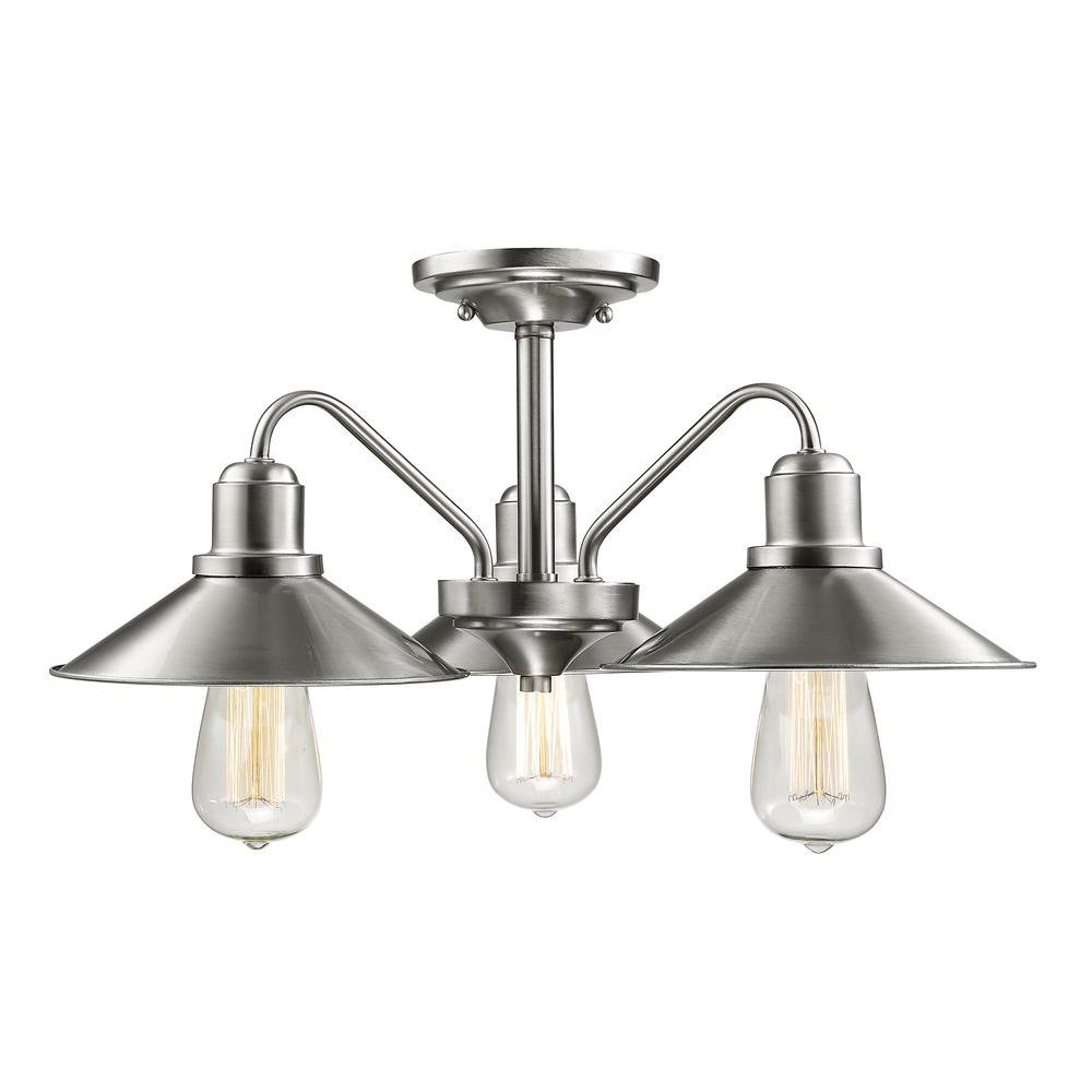 Niven 3-Light Brushed Nickel Modern Semi-Flush Mount with Brushed Nickel Steel