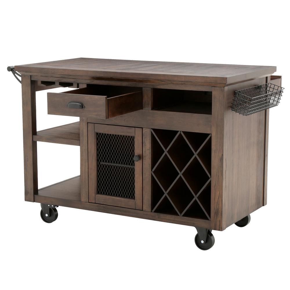 Home Decorators Collection Cooper Rustic Walnut Kitchen Cart ...