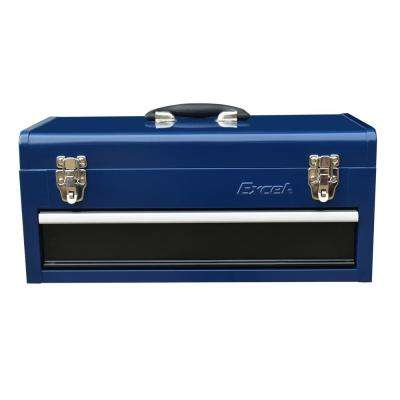 19 in. Portable Steel Tool Box with 1 Ball Bearing Drawer in Blue