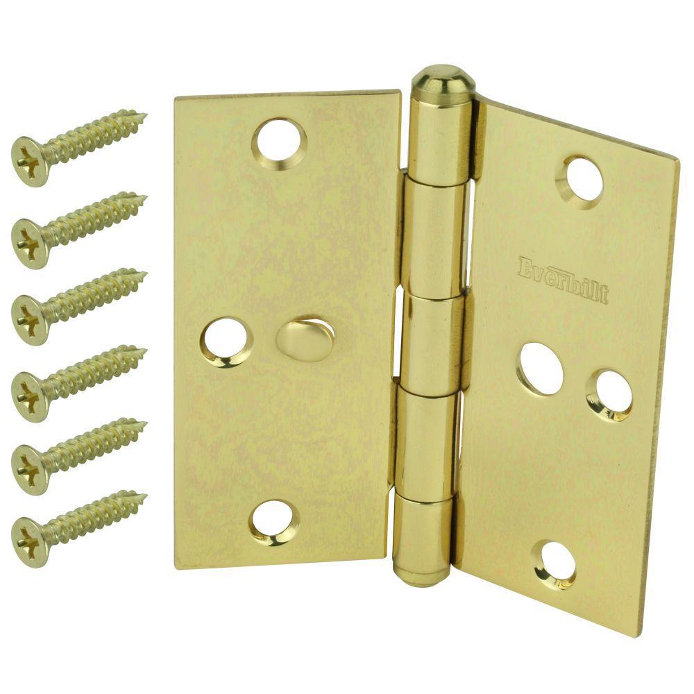 3 in. Solid Brass Square Corner Security Door Hinge