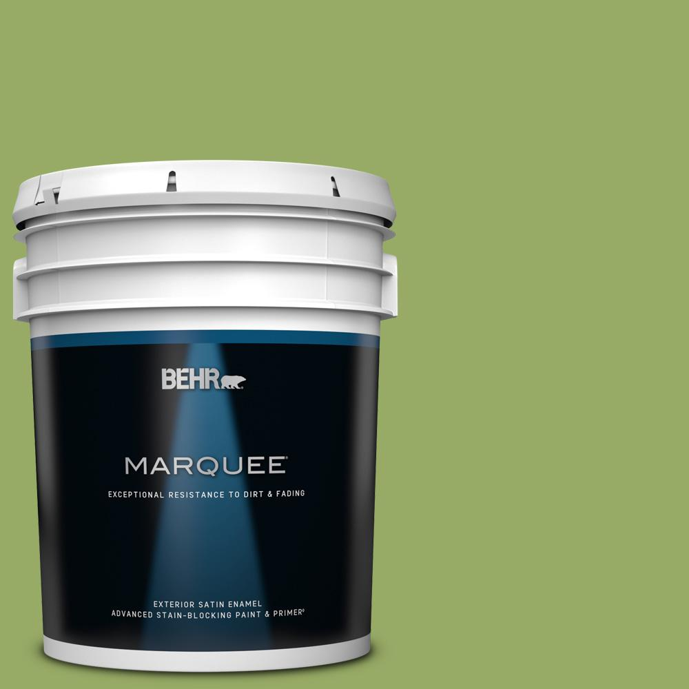 Behr Marquee 5 Gal 420d 5 Herbal Garden Satin Enamel Exterior Paint And Primer In One 945305 The Home Depot