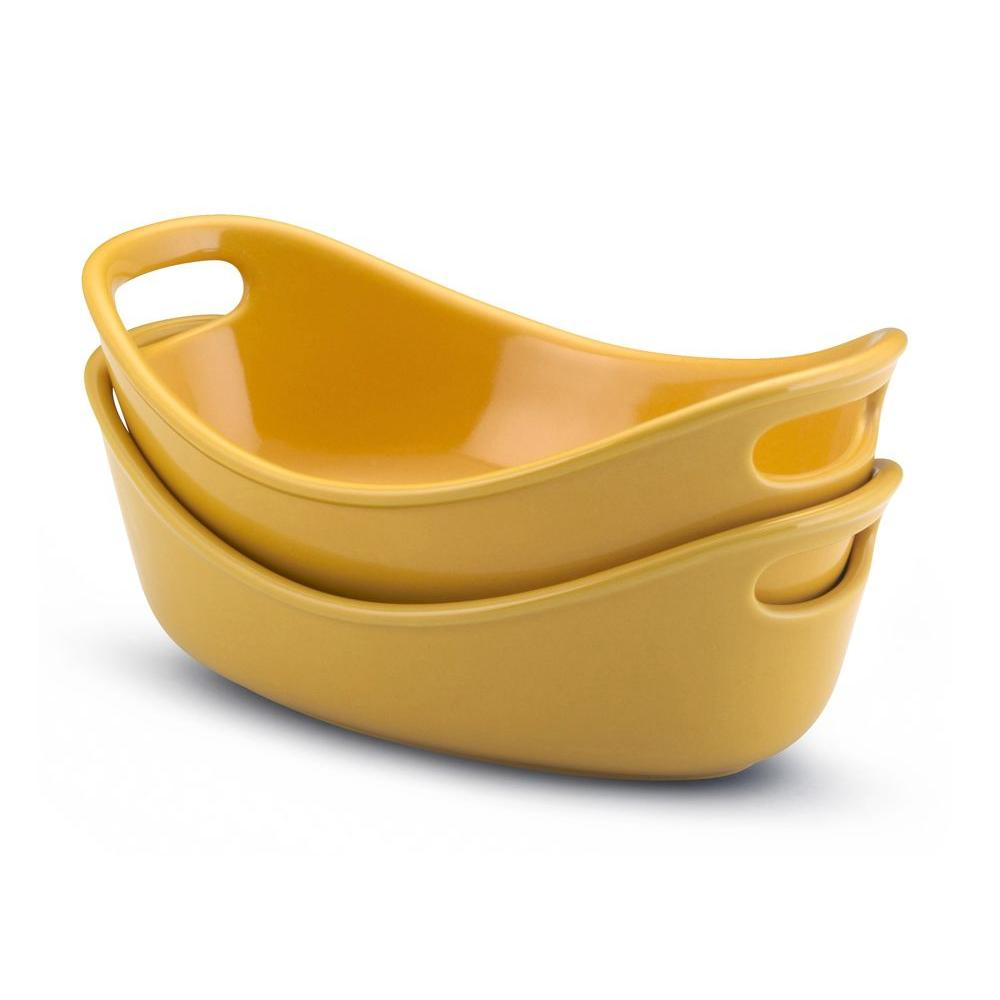 Rachael Ray Bubble and Brown 12 oz. Oval Bakers in Yellow (Set of 2)