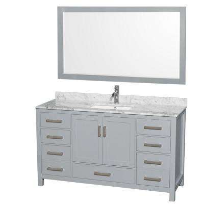 Sheffield 60 in. W x 22 in. D Vanity in Gray with Marble Vanity Top in Carrara White with White Basin and 58 in. Mirror