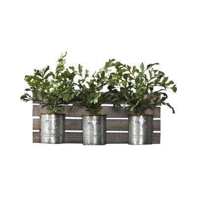 Indoor Hare Foot Fern in Tin Cans on Wooden Hanging Slat Wall