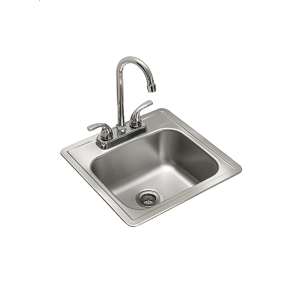 KINDRED KINDRED Essentials All-in-One Kit 15 in. x 15 in. x 6 in. Drop-In Bar/Utility Sink in Satin Stainless Steel, Satin deck and bowl