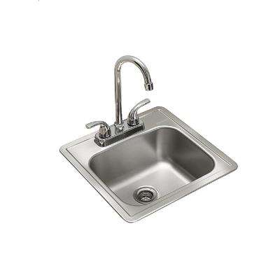 Essentials All-in-One Kit 15 in. x 15 in. x 6 in. Drop-In Bar/Utility Sink in Satin Stainless Steel